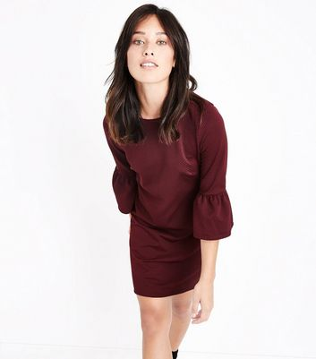 Burgundy Bell Sleeve Jersey Tunic Dress