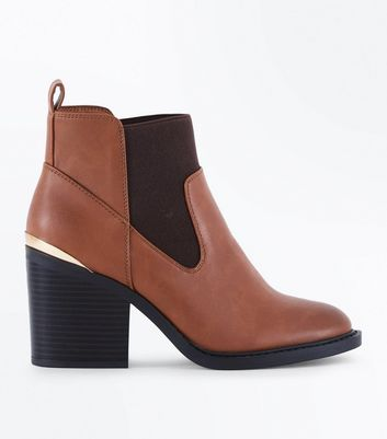 Wide Fit Tan Metallic Trim Block Heel Boots