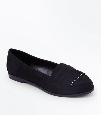 Wide Fit Black Suedette Stud Fringe Trim Loafers