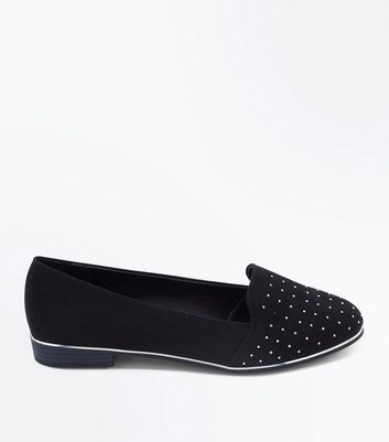 Wide Fit Black Metal Trim Studded Loafers