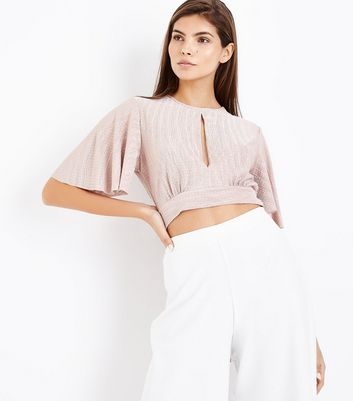 Shell Pink Crinkle Flutter Sleeve Crop Top