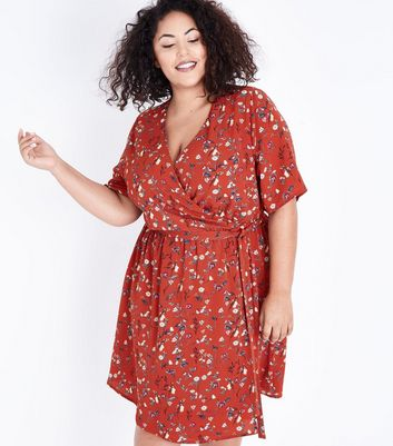 Curves Red Floral Wrap dress