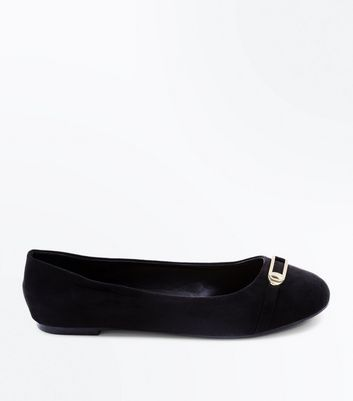 Wide Fit Black Suedette Bar Front Ballet Pumps