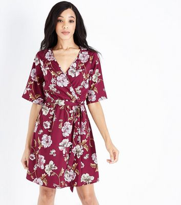 Tall Red Floral Wrap Dress