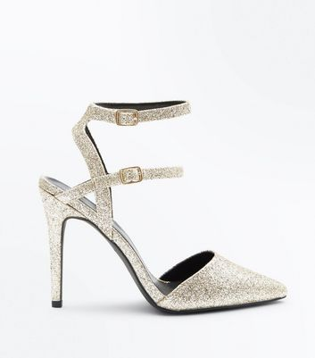 Wide Fit Gold Glitter Double Ankle Strap Pointed Heels