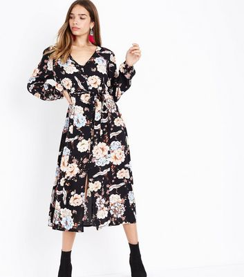 Tall Black Floral Button Front Midi Dress