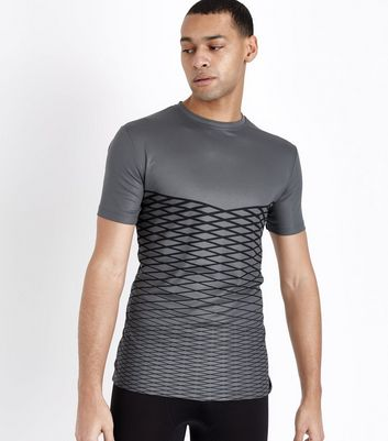 Pale Grey Lattice Print Sport T-Shirt