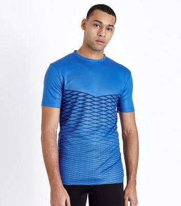 Bright Blue Lattice Print Sport T-Shirt