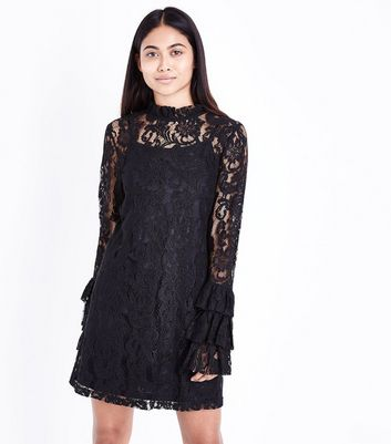 Petite Black Lace Tiered Sleeve Tunic Dress