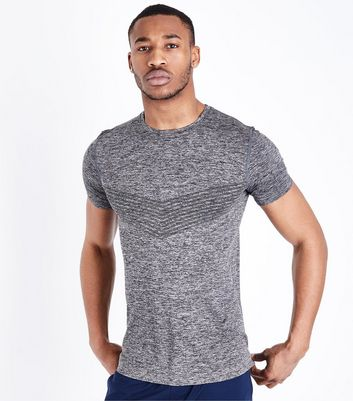 Dark Grey V Front Knitted T-Shirt
