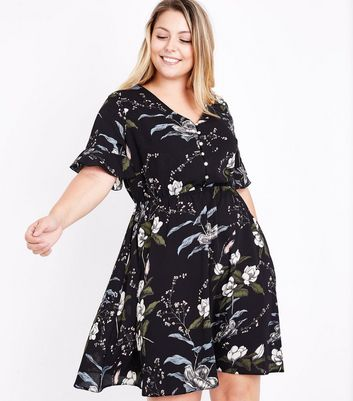 Curves Black Floral Bell Sleeve Dress