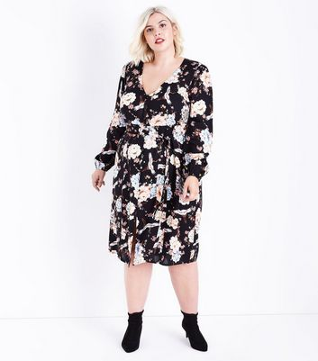 Curves Black Floral Bird Printed Dress