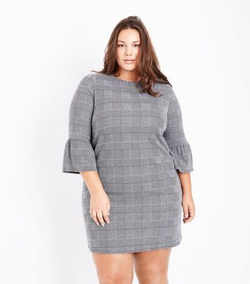 Curves Black Check Bell Sleeve Dress