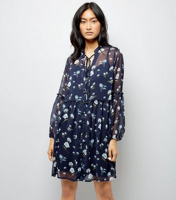 Influence Navy Floral Smock Dress