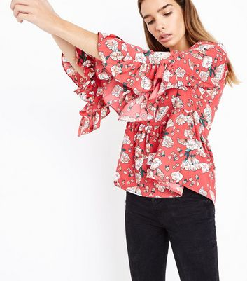 Influence Red Floral Print Peplum Hem Top