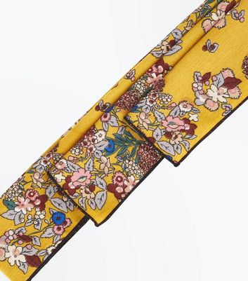 Yellow Floral Print Hair Ribbon