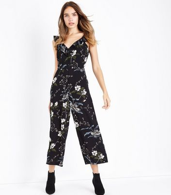 Tall Black Floral Frill Neck Culotte Jumpsuit