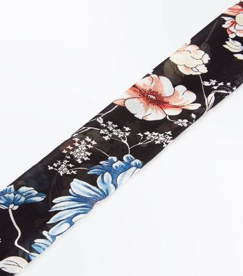 Black Floral Long Hair Tie