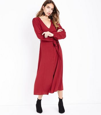 Tall Red Button Front Midi Dress