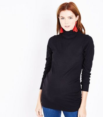 Maternity Black Roll Neck Top