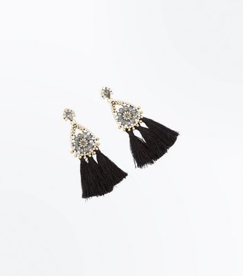 Black Tassel Embellished Chandelier Earrings