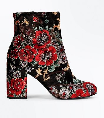 Red Velvet Floral Brocade Heeled Ankle Boots