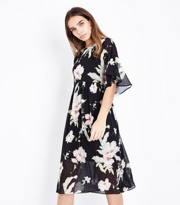 Black Floral Chiffon Midi Smock Dress