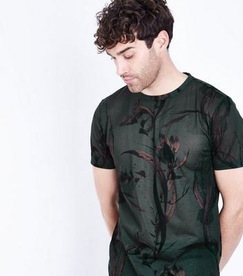 Black Leaf Print T-Shirt