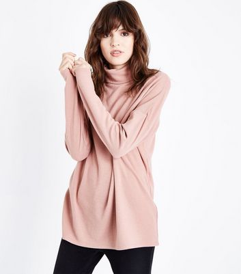 Light Brown Roll Neck Brushed Tunic Top