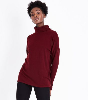Burgundy Roll Neck Brushed Tunic Top