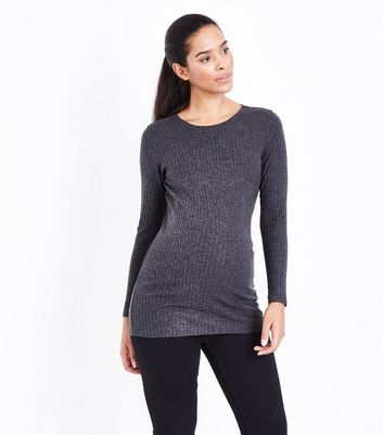 Maternity Grey Ribbed Longline Top