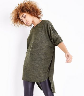 Apricot Khaki Marl Zip Cold Shoulder Tunic Top