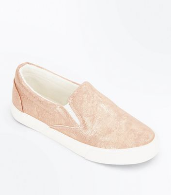 Rose Gold Snakeskin Texture Slip On Trainers