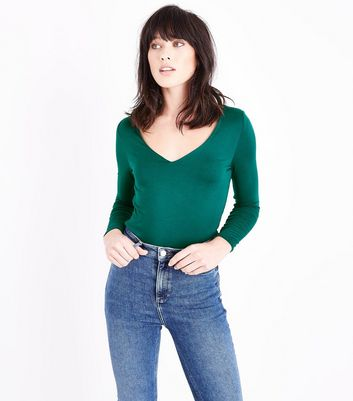 Dark Green V Neck Bodysuit