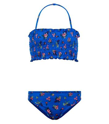 Teens Blue Floral Print Shirred Bandeau Bikini