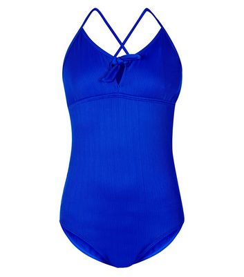 Teens Blue Ribbed Tie Front Swimsuit
