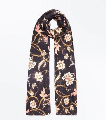 Black Regal Print Longline Scarf