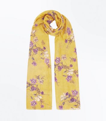 Mustard Floral Print Longline Scarf