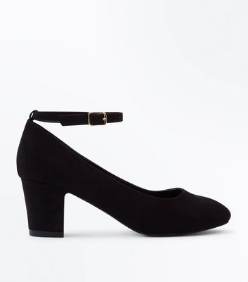 Wide Fit Black Suedette Block Heel Courts