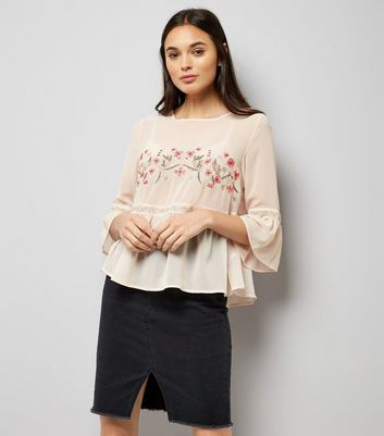 Cameo Rose Pink Floral Embroidered Peplum Top