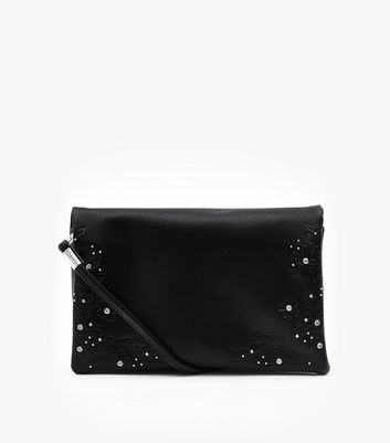 Black Floral Embossed Embellished Clutch Bag