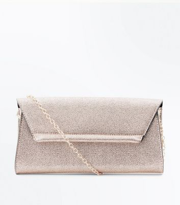 Rose Gold Glitter Envelope Clutch