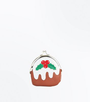 White Christmas Pudding Clip Top Purse
