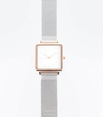Silver Mesh Strap Square Case Watch