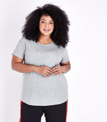 Curves Grey Short Sleeve Oversized T-Shirt