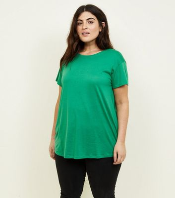 Curves Green Short Sleeve Oversized T-Shirt