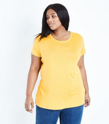 Curves Yellow Short Sleeve Oversized T-Shirt