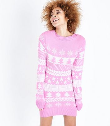Mela Pale Pink Fairisle Knit Christmas Jumper Dress | New Look