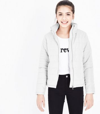 Teens Pale Grey Lightweight Puffer Jacket
