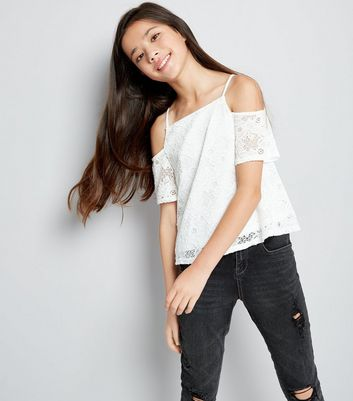 Teens Cream Lace Cold Shoulder Top
